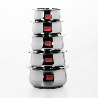 Sumeet 5 Pcs Stainless Steel Induction & Gas Stove Friendly Belly Shape Container Set / Tope / Cookware Set With Lids Size No.10 & No.14 Pot 3.3 L(Stainless Steel)  available at flipkart for Rs.1479
