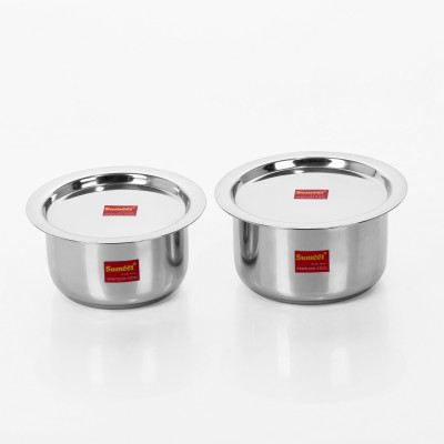 Sumeet 2 Pcs Stainless Steel Induction & Gas Stove Friendly Container Set / Tope / Cookware Set With Lids Size No.10 & No.11 Pot 1.4 L(Stainless Steel)  available at flipkart for Rs.675