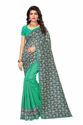 Kjs Printed Bollywood Cotton Silk Saree Multicolor Kjs Women\'s Sarees