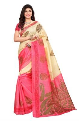 KJS Embroidered Bollywood Cotton Silk Saree Cream KJS Women\'s Sarees