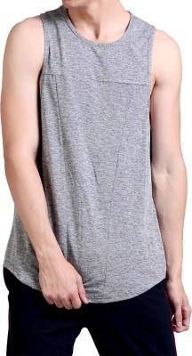 Chkokko Self Design Men Round or Crew Grey T-Shirt at flipkart