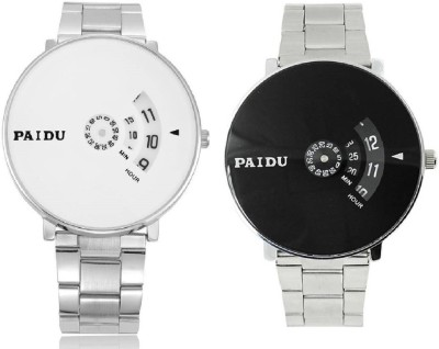 Paidu White_Paidu 58897Black-001 COMBO-Watch - For Men Watch  - For Men
