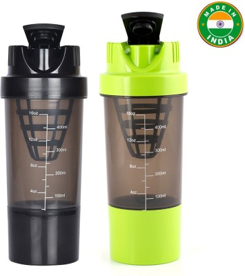 HAANS Cyclone Shakers Combo(set of 2) 1000 ml Shaker(Pack of 2, Black, Green)