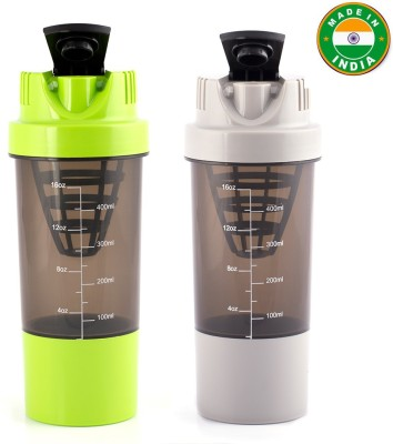 HAANS Cyclone Shakers Combo(set of 2) 1000 ml Shaker(Pack of 2, Grey, Green)