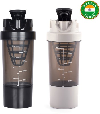Xudo Cyclone Shakers Combo(set of 2) for Gym Protein/Water 500 ml Shaker(Pack of 2, Black, Grey)