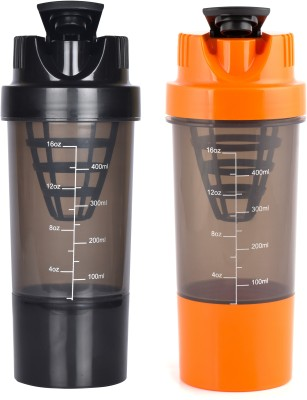 HAANS Cyclone Shakers Combo(set of 2) 1000 ml Shaker(Pack of 2, Blue, Grey)