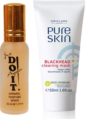 Oriflame Sweden Pure Skin Blackhead Clearing Mask 50ml (32650) With Just Doit Perfume 30ml(Set of 2)  available at flipkart for Rs.425