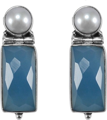 Exxotic Jewelz Designer Chalcedony Sterling Silver Stud Earring