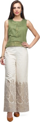 Abhishti Regular Fit Women White Trousers at flipkart