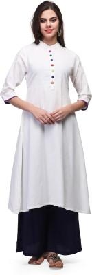 Abhishti Women Solid Flared Kurta(White) at flipkart