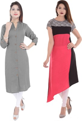 Blezza Casual Solid Women Kurti(Pack of 2, Multicolor)