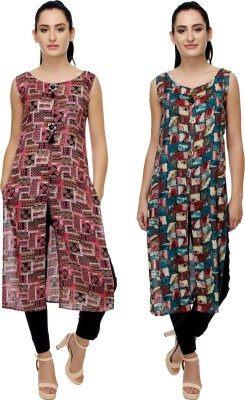 Kannan Casual Printed Women Kurti(Pack of 2, Multicolor)
