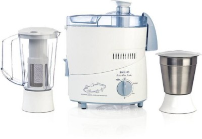 Bajaj Philips HL1631 1 Juicer Mixer Grinder(White with blue accents, 2 Jars)  available at flipkart for Rs.3600