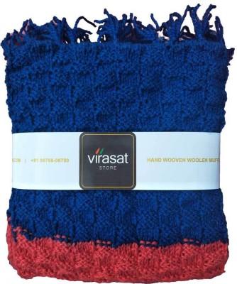 Virasat Store Blue & Red Embroidered Men & Women Muffler