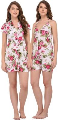 You Forever Women Polka Print Pink Top & Shorts Set