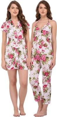 You Forever Women Polka Print Pink Top & Pyjama Set