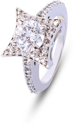 Zevrr Hallmarked Silver Swarovski Crystal Ring at flipkart
