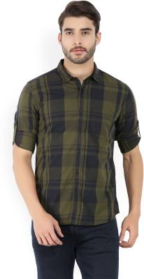 Highlander Men's Checkered Casual Black, Dark Green Shirt