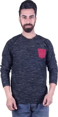 EMERA Self Design Men's Round Neck Black T-Shirt