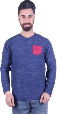 EMERA Self Design Men's Round Neck Blue, Red T-Shirt