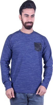 EMERA Self Design Men's Round Neck Black, Blue T-Shirt