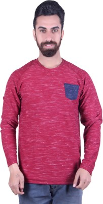 EMERA Self Design Men's Round Neck Maroon T-Shirt