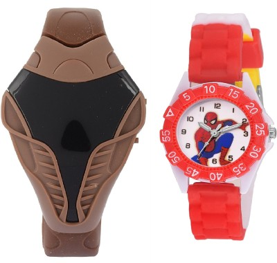 SOOMS brown cobra digital led boys watch with DESINGER AND FANCY SPIDER-MAN CARTOON PRINTED ON TINNY DIAL KIDS & CHILDREN Watch  - For Boys & Girls