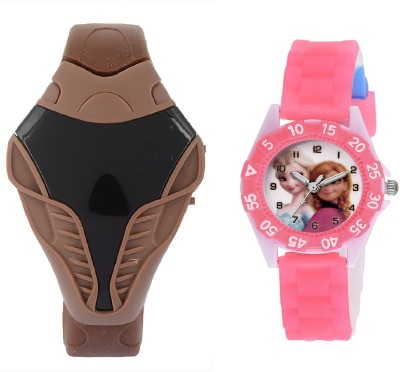 SOOMS BROWN COBRA DIGITAL LED BOYS WATCH WITH DESINGER AND FANCY PRINCES CARTOON PRINTED ON TINNY DIAL KIDS & CHILDREN Watch  - For Boys & Girls