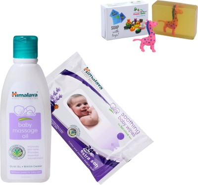 Himalaya Herbals Baby Massage Oil (100ml)+Himalaya Herbals Soothing Baby Wipes (24 Sheets) With Happy baby Luxurious Kids Soap With Toy (100gm)(Clear)  available at flipkart for Rs.244
