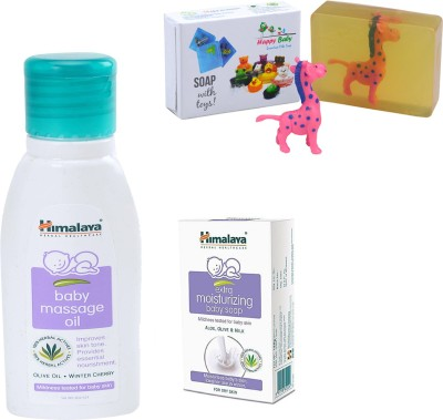 Himalaya Herbals Baby Massage Oil (50ml)+Himalaya Gentle Baby Soap (25g) With Happy baby Luxurious Kids Soap With Toy (100gm)(Clear)  available at flipkart for Rs.148