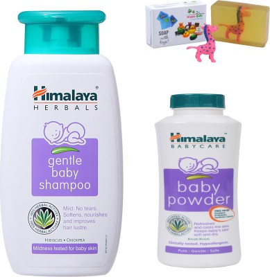 Himalaya Herbals gentle baby Shampoo (100ml)+Himalaya Herbals Baby powder (50g) With Happy Baby Luxurious Kids Soap With Toy (100gm)(Clear)  available at flipkart for Rs.194