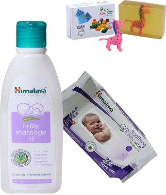 Himalaya Herbals Baby Massage Oil (200ml)+Himalaya Herbals Soothing Baby Wipes (72 Sheets) With Happy baby Luxurious Kids Soap With Toy (100gm)(Clear)  available at flipkart for Rs.401