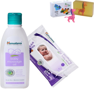 Himalaya Herbals Baby Massage Oil (200ml)+Himalaya Herbals Soothing Baby Wipes (24 Sheets) With Happy baby Luxurious Kids Soap With Toy (100gm)(Clear)  available at flipkart for Rs.308