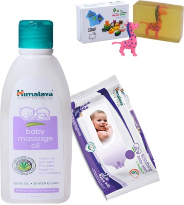 Himalaya Herbals Baby Massage Oil (200ml)+Himalaya Herbals Soothing Baby Wipes (12 Sheets) With Happy baby Luxurious Kids Soap With Toy (100gm)(Clear)  available at flipkart for Rs.278