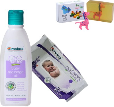 Himalaya Herbals Baby Massage Oil (100ml)+Himalaya Herbals Soothing Baby Wipes (72 Sheets) With Happy baby Luxurious Kids Soap With Toy (100gm)(Clear)  available at flipkart for Rs.328
