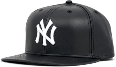 Sapiens Solid NY Snapback Cap Faux Leather Hip Hop White Embroidered Cap