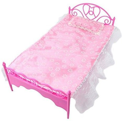 Life Vc Pink Mini Bed With Pillow For Barbie Dolls Dollhouse Bedroom Furniture(Multicolor)  available at flipkart for Rs.1482