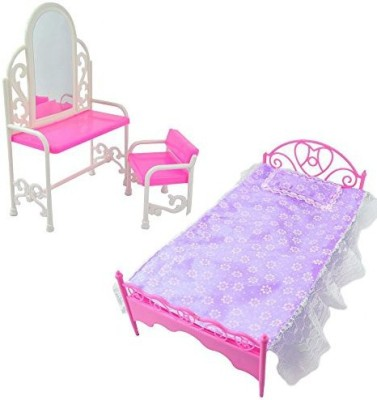 Life Vc Purple Plastic Mini Bed With Pillow And Hot Pink Table & Chair Set For Barbie Dolls Bedroom Furniture(Multicolor)  available at flipkart for Rs.2051