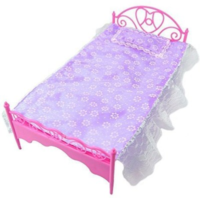 Life Vc Purple Mini Bed With Pillow For Barbie Dolls Dollhouse Bedroom Furniture(Multicolor)  available at flipkart for Rs.1506
