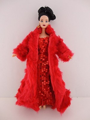 OliviaS Doll Closet A Flawless Red Outfit Red Fitted Sequined Dress And Long Red Fur Coat Made To Fit The Barbie(Multicolor)