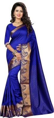 The Fashion Outlets Woven Kanjivaram Art Silk Saree(Blue)