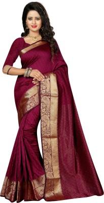 The Fashion Outlets Woven Kanjivaram Art Silk Saree(Magenta)