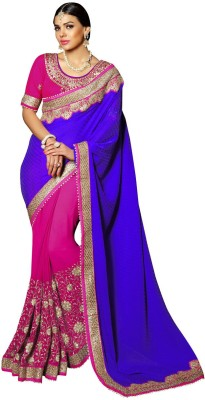 Patang International Embellished Fashion Brasso, Chiffon Saree(Purple, Pink) Flipkart