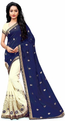 M.S.Retail Embroidered Bollywood Chiffon Saree(Multicolor)