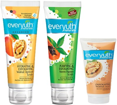 EVERYUTH NATURALS PURIFYING & EXFOLIATING NEEM PAPAYA SCRUB 100 GM + EXFOLIATING WALNUT SCRUB 50 GM + HYDRATING & EXFOLIATING WALNUT APRICOT SCRUB 100 GM Scrub(100 g)