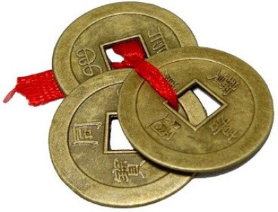 Gift Décor Shop Orignal lucky coins for money luck of Fengshui Set of 1 lucky Coin Showpiece  -  2 cm(Brass, Gold)  available at flipkart for Rs.160