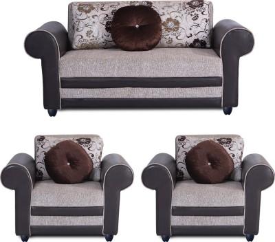 Bharat Lifestyle Alex Fabric 2 + 1 + 1 Cream Sofa Set
