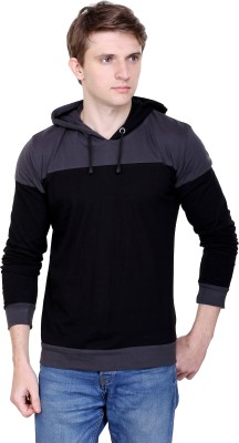 Fabstone Collection Solid Men Hooded Grey, Black T-Shirt