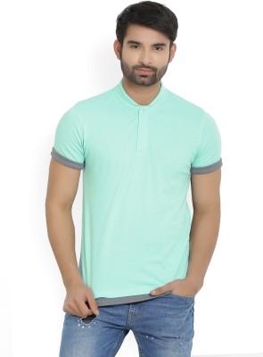 Indigo Nation Solid Men's Polo Neck Light Blue T-Shirt