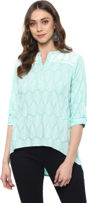 Vedic Casual Regular Sleeve Embroidered Women Light Blue, White Top